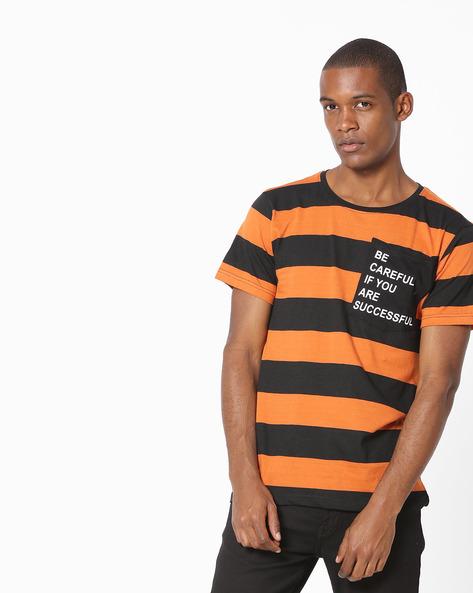 Striped Crew-Neck Tshirt By Blue Saint ( Black )