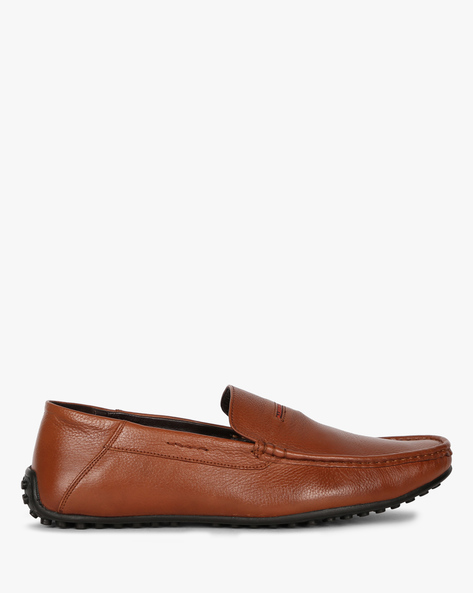 Textured Moccasin Slip-On Shoes By ALBERTO TORRESI ( Tan )