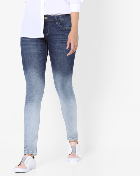 Skinny Jeans With Ombre-Dyed Effect By Project Eve WW Denim ( Mediumblue )