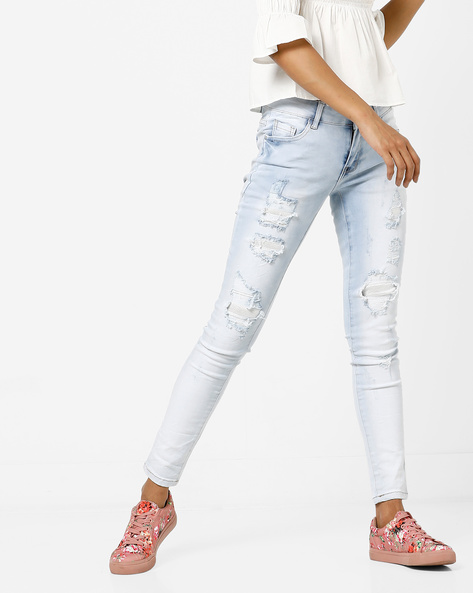 Heavily Washed Distressed Skinny Jeans By Deal Jeans ( Blue )