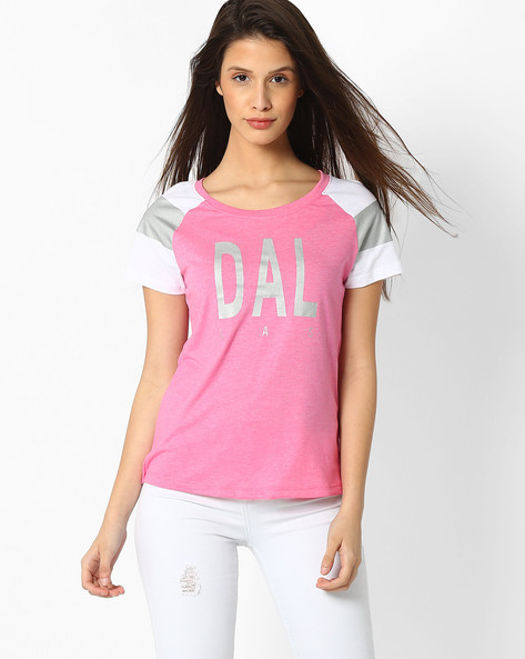 Printed T-shirt With Raglan Sleeves By Teamspirit ( Pink )