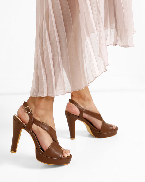 Peep-Toe Platforms With Ankle Strap By AJIO ( Coffee )
