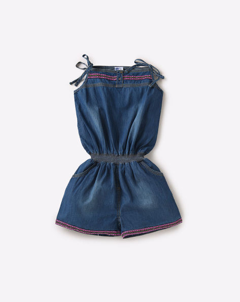 Cotton Playsuit With Spaghetti Straps By 612 League ( Blue )