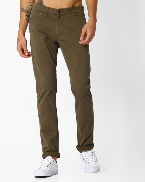Tapered Fit Twill Chinos By NETPLAY ( Olive )