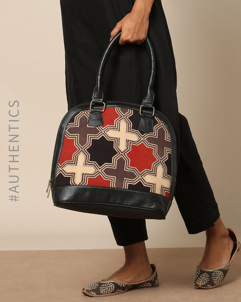 Handblock Print Ajrak Vegan Leather Shoulder Bag By A BIG INDIAN STORY ( Black )