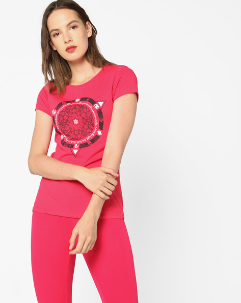 Graphic Print Crew-Neck T-shirt By AJIO ( Pink )