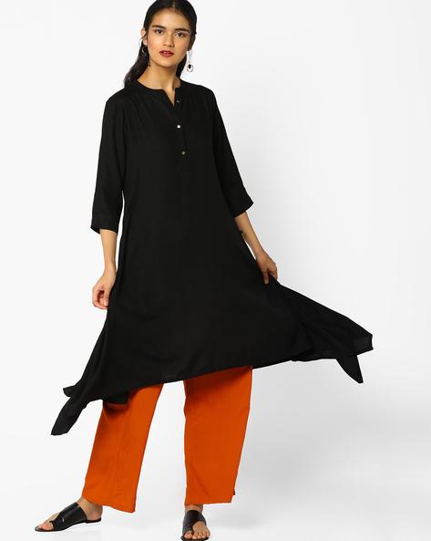 Straight Kurta With Handkerchief Hemline By AVAASA MIX N' MATCH ( Black )