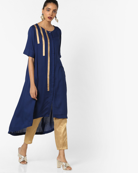 Straight Kurta With Asymmetrical Hem By Project Eve IW Casual ( Navy )