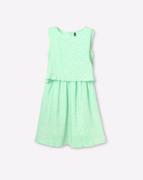 Polka-Dot Print Popover Dress By RIO GIRLS ( Green )