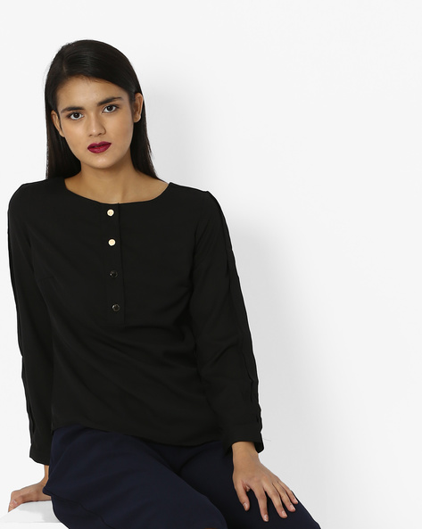 Woven Top With Short Button Placket By Project Eve WW Casual ( Black )