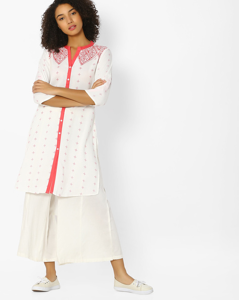 Printed Straight Kurta With Button Placket By AVAASA MIX N' MATCH ( Coral )