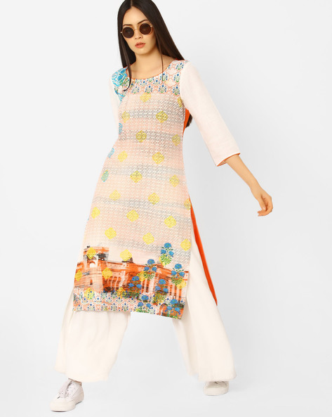 Art Deco Print Straight Kurta With Embroidery By AURELIA ( Orange )