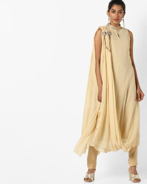Sleeveless Drape Kurta With Embellishments By AJIO ( Ivory )