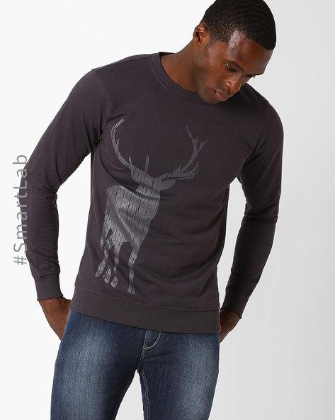 Printed Crew-Neck Sweatshirt By Wildcraft ( Purple )