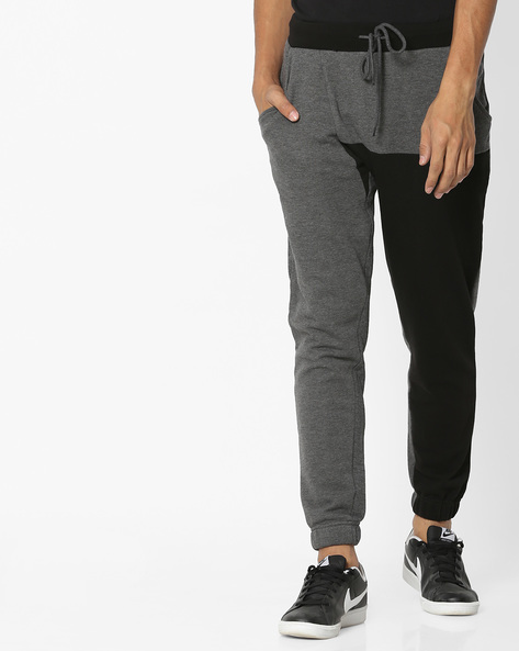 Colourblock Joggers With Drawstring Fastening By AJIO ( Charcoal )