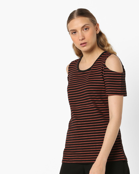 Striped Cold-Shoulder Top By ANONYMOUS CO ( Redorange )