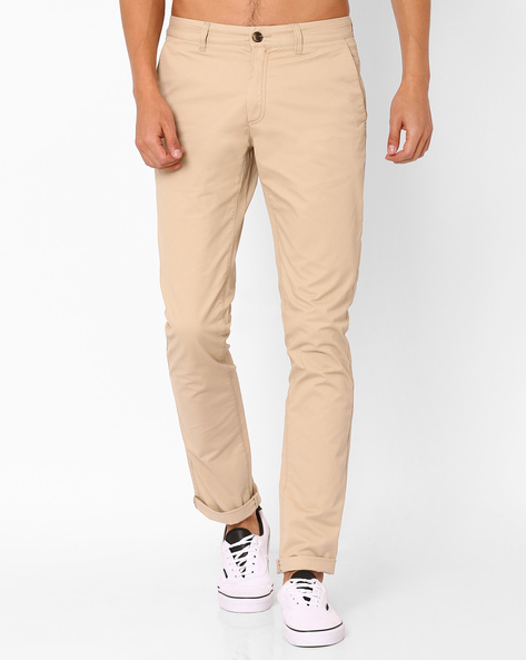 Mid-Rise Flat-Front Chinos By NETPLAY ( Beige )