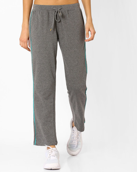 Cotton Track Pants With Elasticated Waistband By AJIO ( Darkgrey )