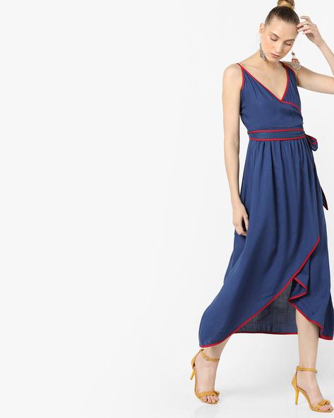 Strappy Wrap Dress With Asymmetric Hem By AJIO ( Navy )