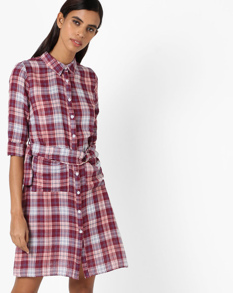 Checked Shirt Dress With Patch Pockets By Oxolloxo ( Multicolor )