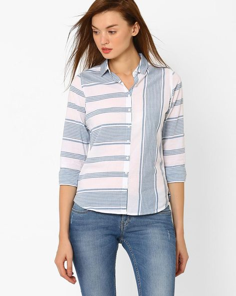 Striped Cotton Shirt By Lee ( Blue )