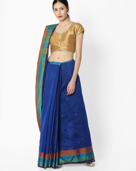 Embroidered Chanderi Silk Saree By Amori ( Blue )