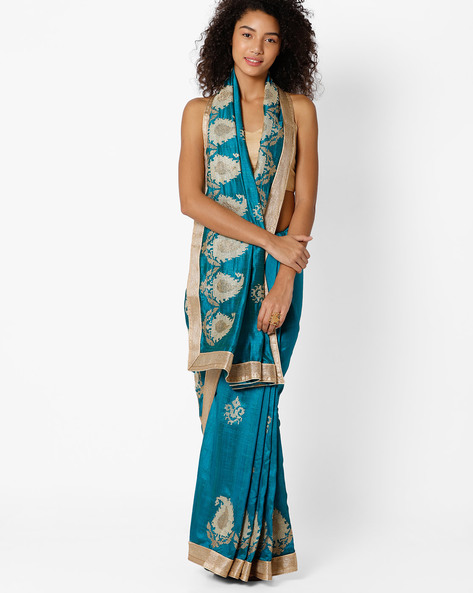 Saree With Woven Designs By Amori ( Green )