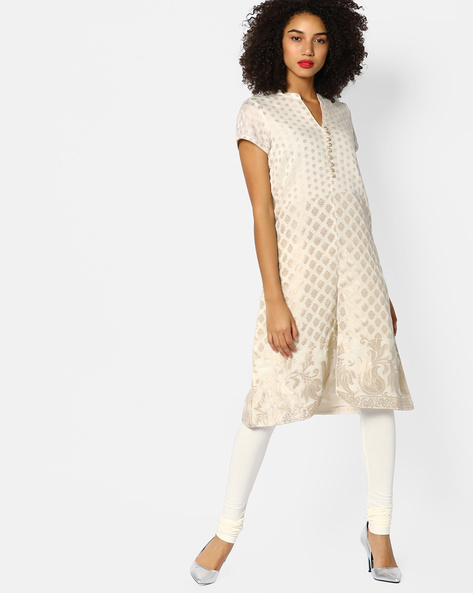 Block Print Chanderi Kurta With Front Slit By Melange By Lifestyle ( Offwhite )