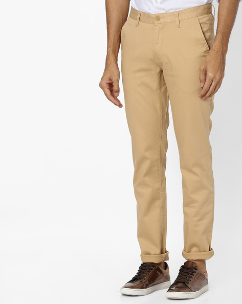 Slim Fit Flat-Front Trousers By JOHN PLAYERS ( Beige ) - 440787065001