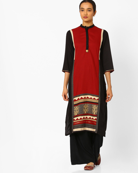 Panelled Straight Kurta With Sequins By W ( Black )