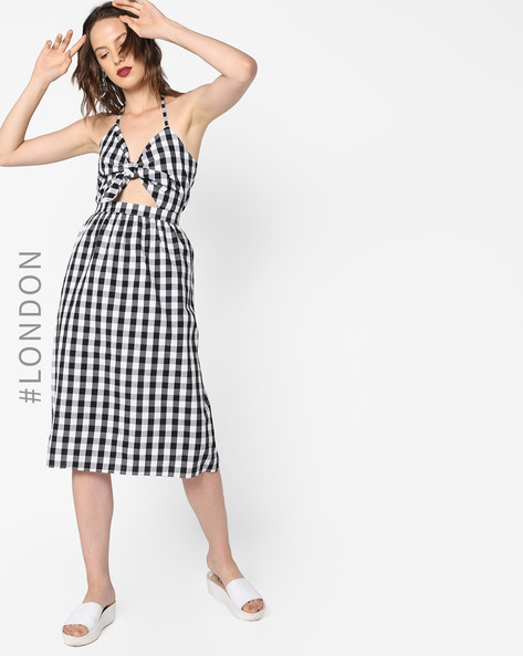 Glamorous Black & White Fit and Flare Checked Sundress with Tie Up