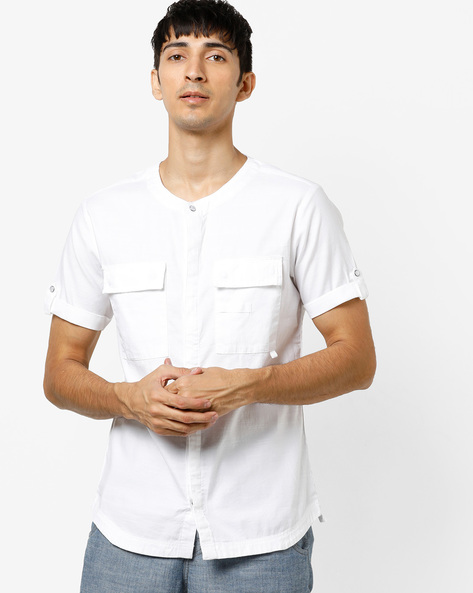 Slim Fit Shirt With Flap Pockets By AJIO ( White )