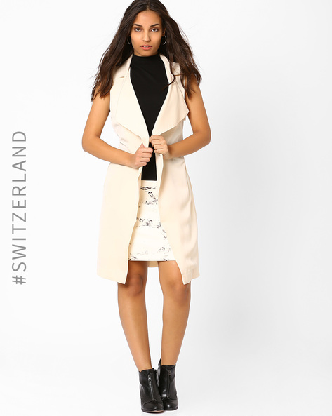 Sleeveless Trench Coat With Belt By TALLY WEiJL ( Beige )