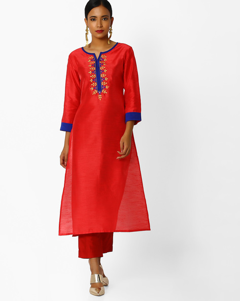 Embroidered Straight Kurta By Indian Ink ( Rust )