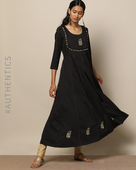 Embroidered Cotton Silk Kalidaar Long Dress By Indie Picks ( Black )