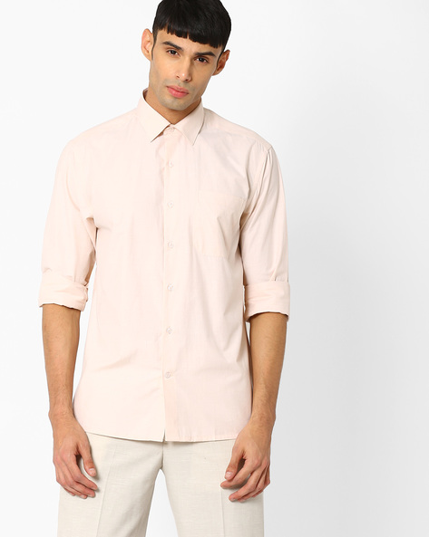 Regular Fit Shirt With Patch Pocket By JOHN PLAYERS ( White )