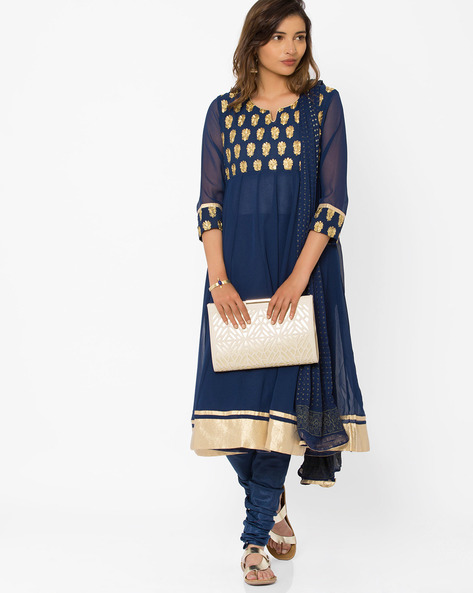 Embroidered Churidar Kurta With Dupatta By Trishaa By Pantaloons ( Navyblue )