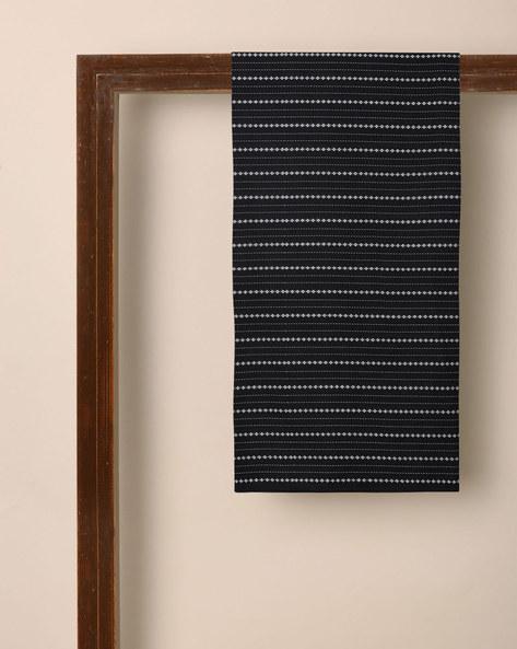 Cotton Dobby Striped Kurta Fabric By Indie Picks ( Black )