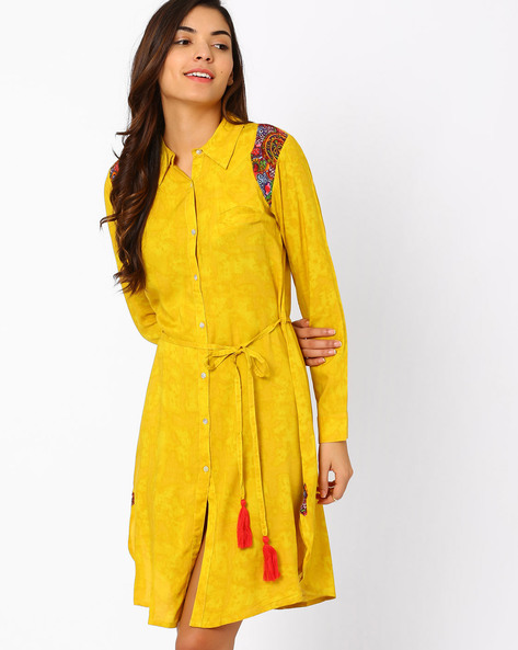 Shirt Tunic With Tasselled Tie-Up By FUSION ( Yellow )