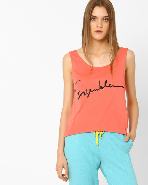 Graphic Print Tank Top By AJIO ( Pink )