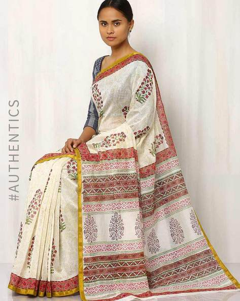 Hand Block Print Chanderi Saree By Indie Picks ( Multi ) - 460016422001