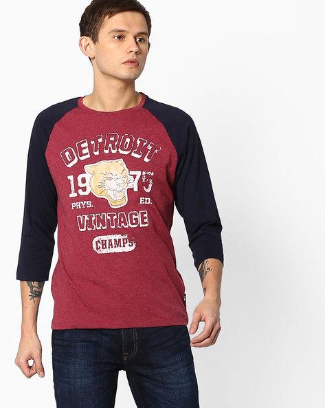 Printed T-shirt With Raglan Sleeves By Jack & Jones ( Grey )