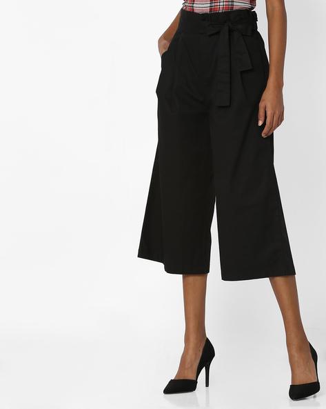 Paper-Bag Waist Cropped Pants By AJIO ( Black )