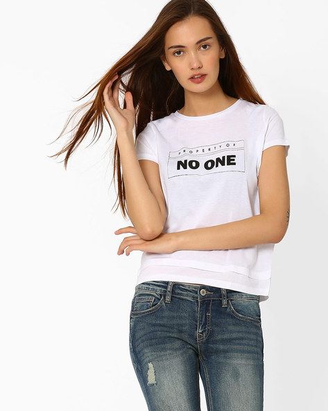 Graphic Print Cotton T-shirt By Chemistee ( White )