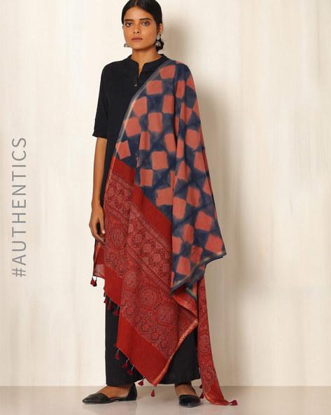 Ajrak Handblock Print Shibori Cotton Dupatta By Indie Picks ( Indigo ) - 460045119001