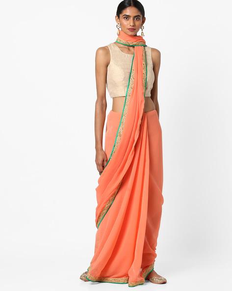 Chiffon Saree With Embellished Border By Vastrangi ( Peach )