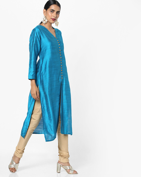 Straight Kurta With Front Slit By Shree ( Turquoise )