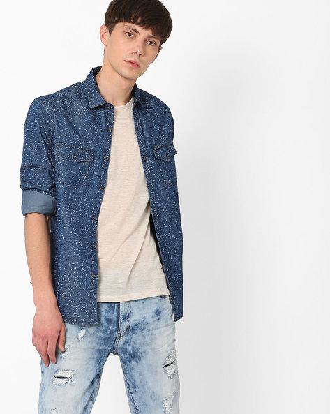 Splatter Print Slim Fit Shirt By AJIO ( Blue )