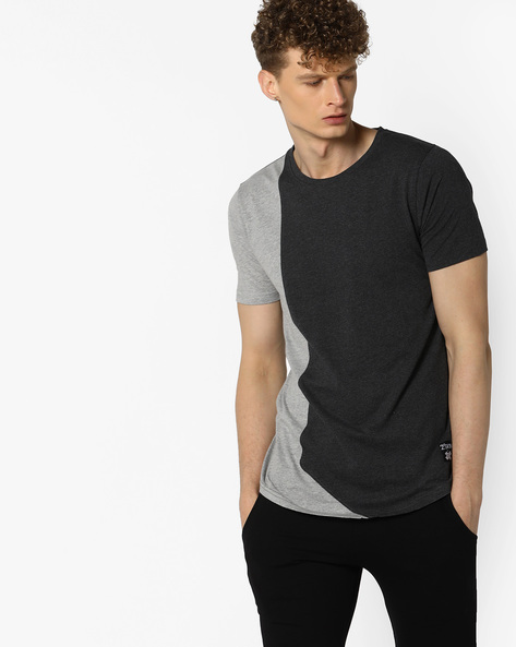 Cut & Sew Cotton T-shirt By KULTPRIT ( Darkgrey )