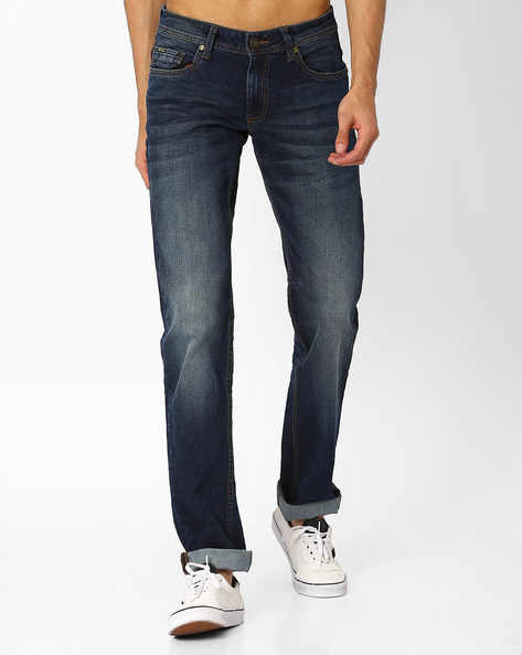 Drift Fit Lightly Washed Stretch Jeans By BASICS ( Blue )